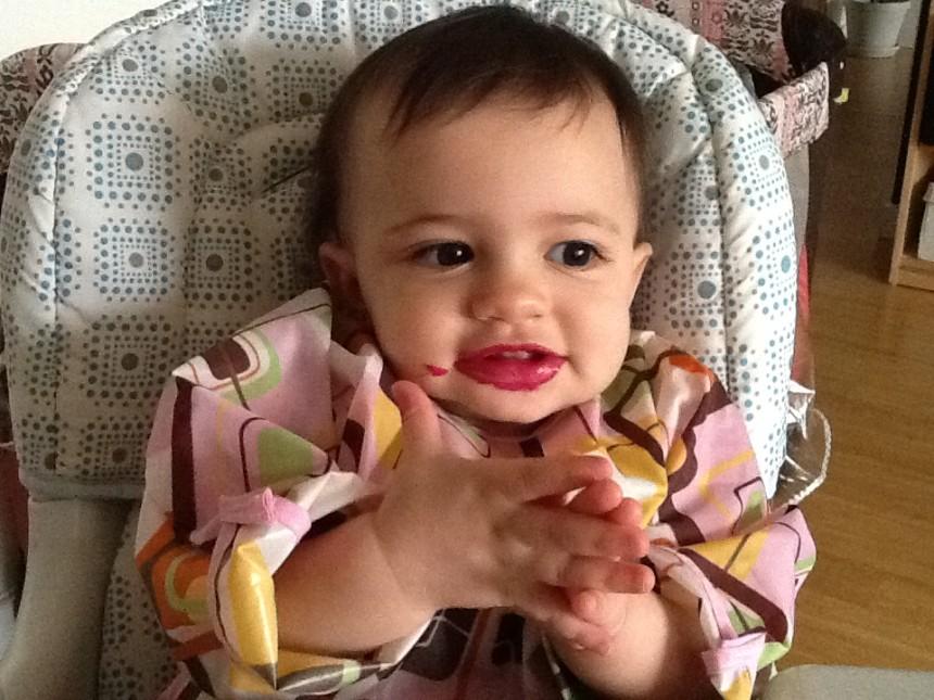 My 9 month old enjoying roasted beet sticks.