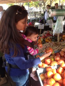 Shopping together at our local farmers' market