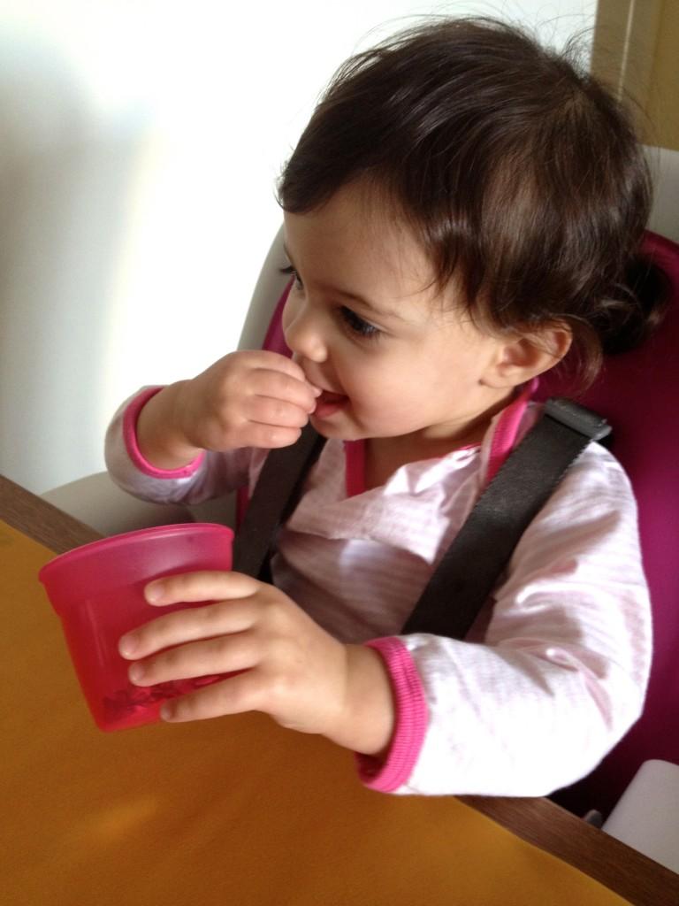 Eliana loves munching on it plain