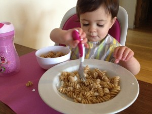And at 20+ months old, she's still eating off my plate even when she has the exact same thing on hers!