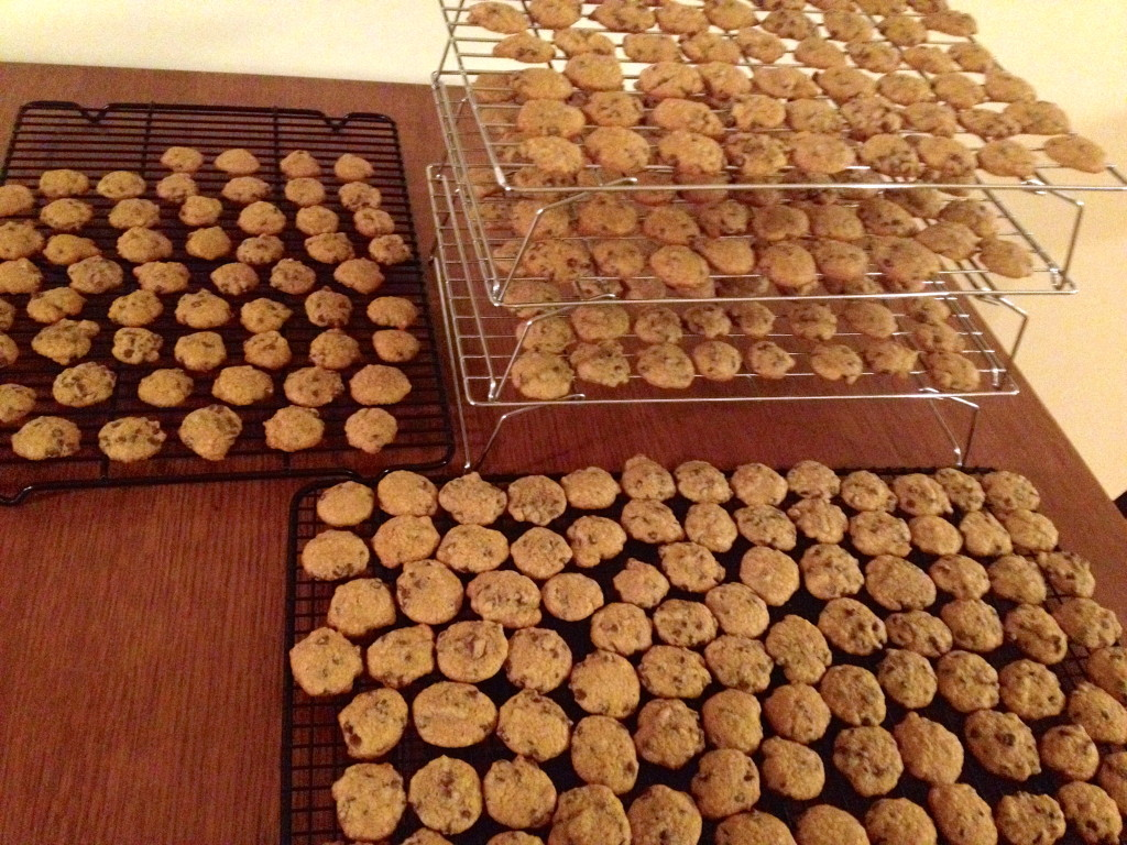 15 batches of 20 cookies each. Yeah-that's a lot of cookies!