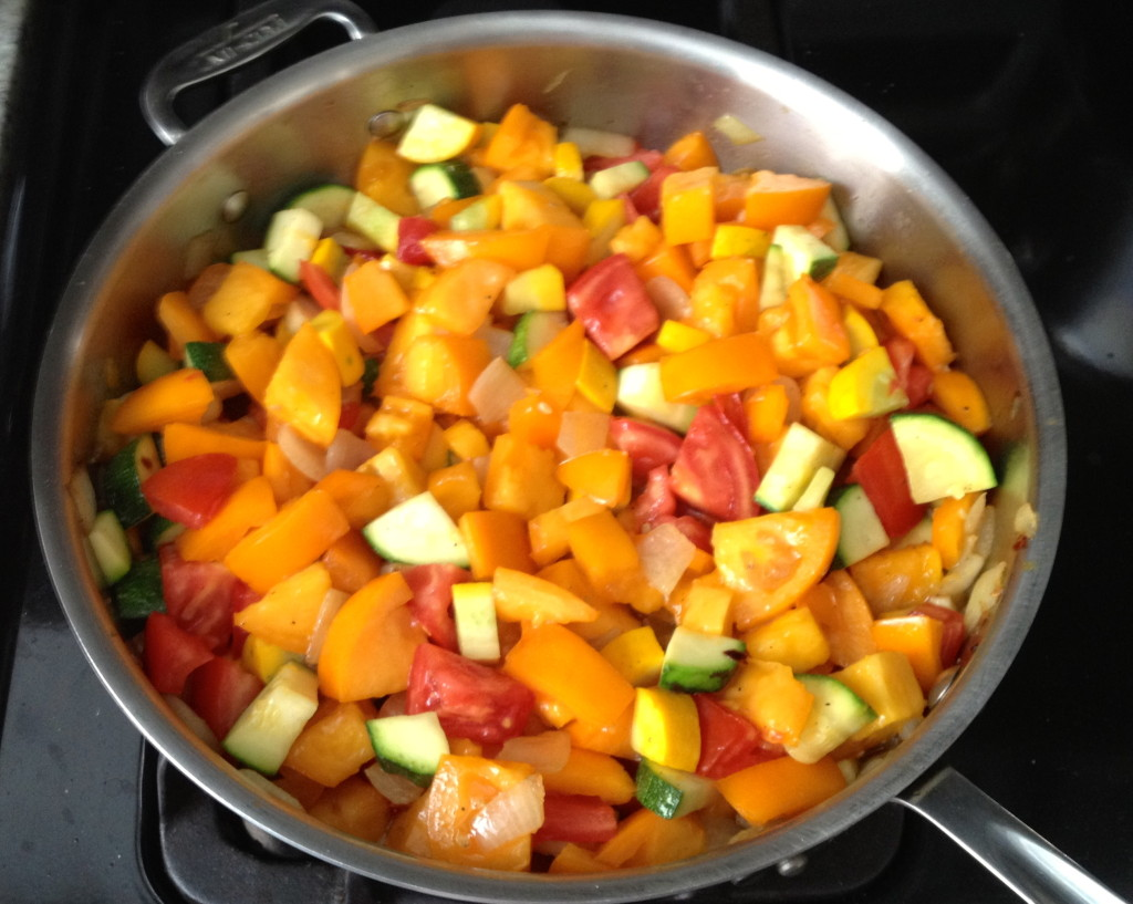 A primavera sauce with delicious summer vegetables.