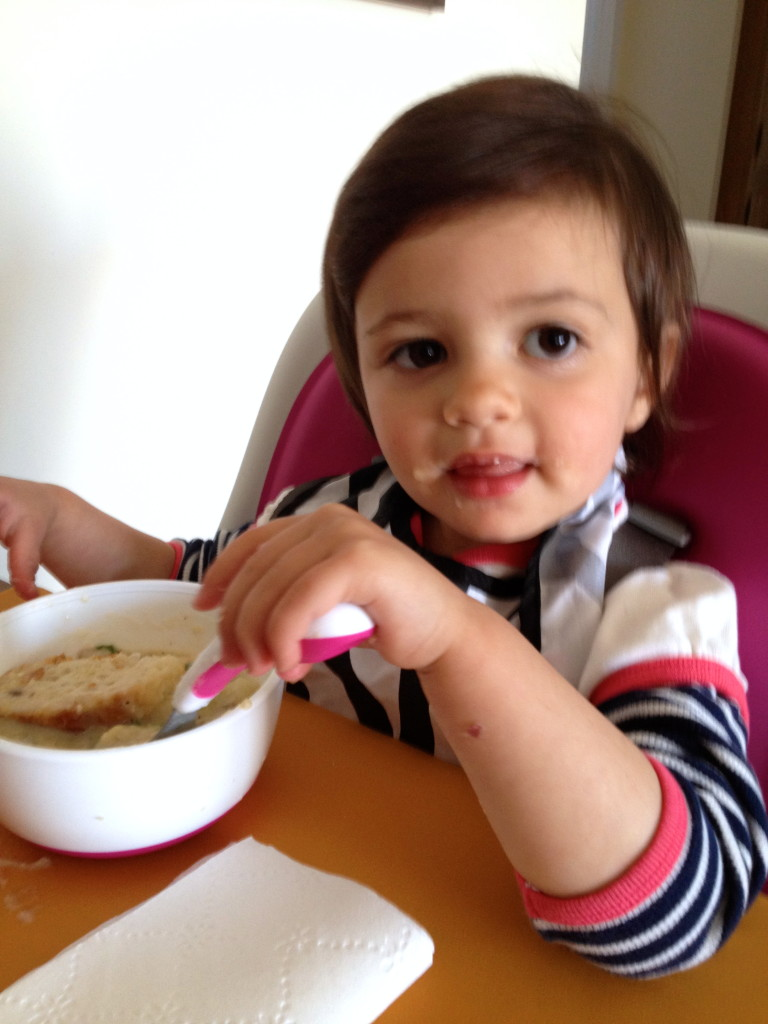 Mommy-the soup is good. Now can I go back to eating the bread?