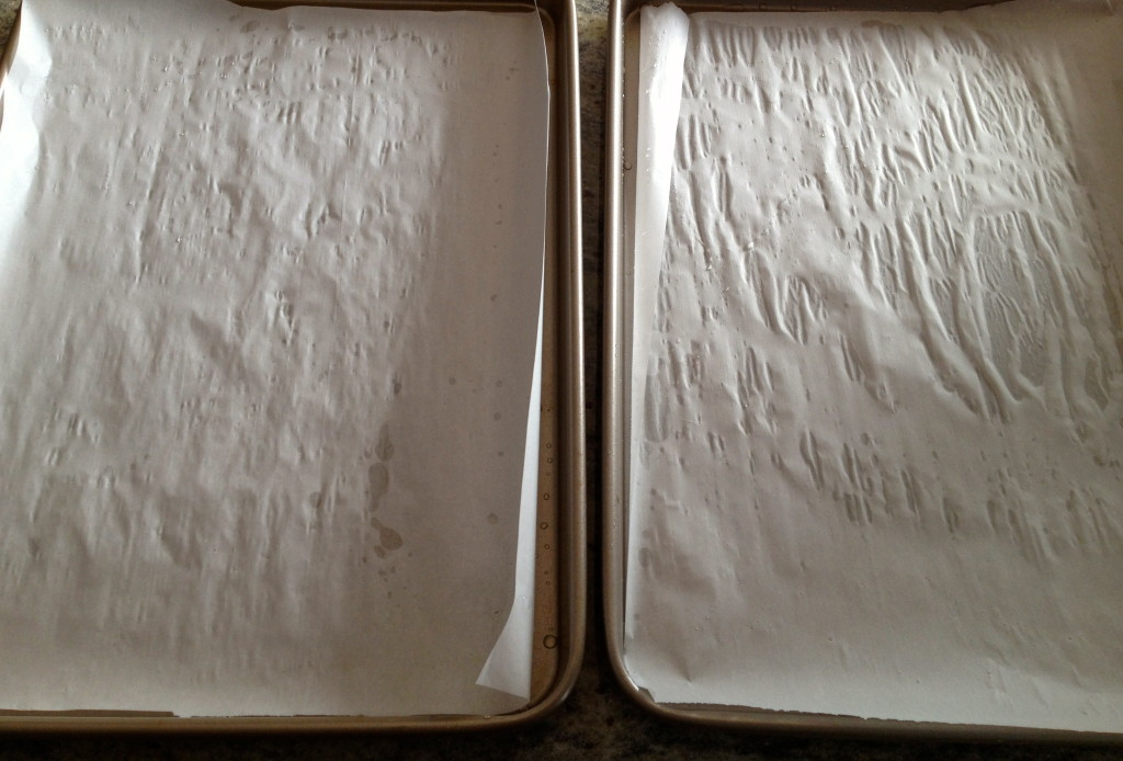 Thank you Peter Berley for teaching me that the secret to keep the parchment paper in place is a bit of water on the pan.