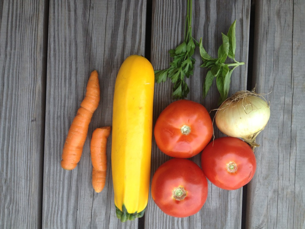 Delicious summer veggies to make a primavera sauce.