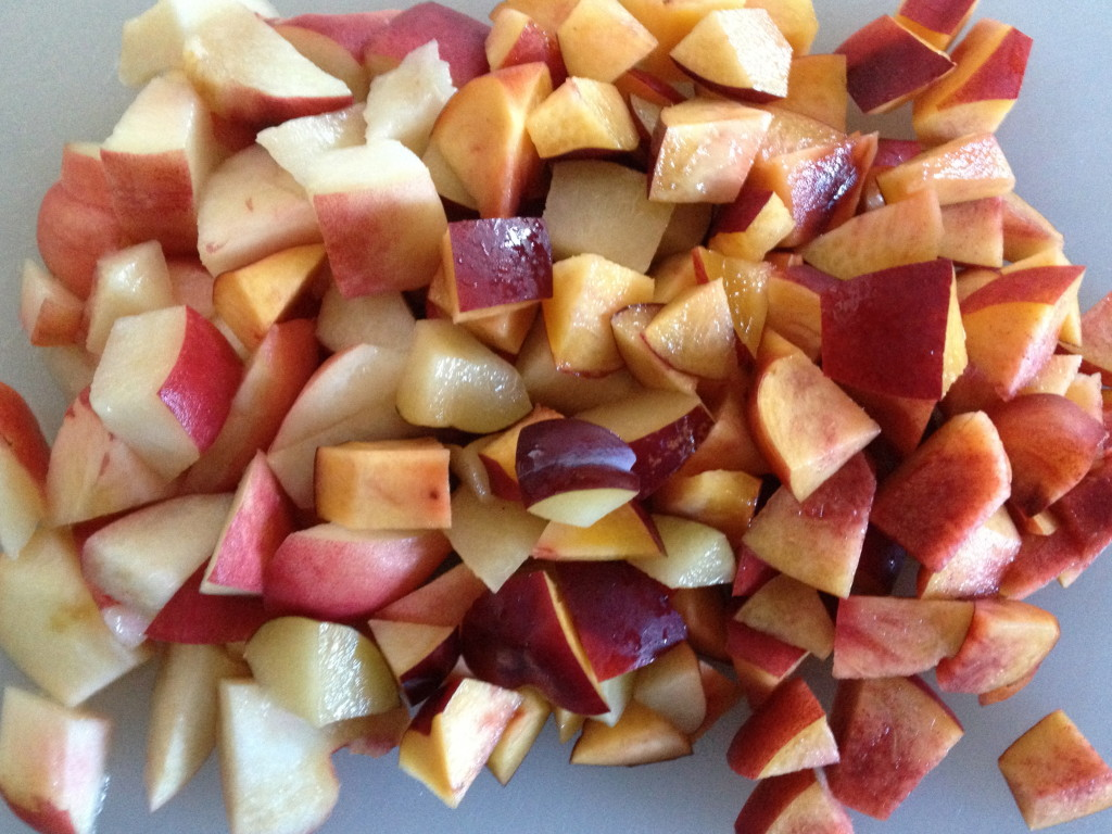 Chopped nectarine, plum and peach to make into a stone fruit baby food puree.