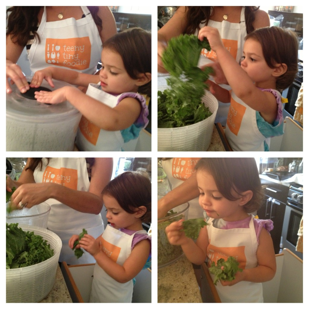 Here's a collage of my toddler and me drying, tearing and massaging kale for salad and kale chips.
