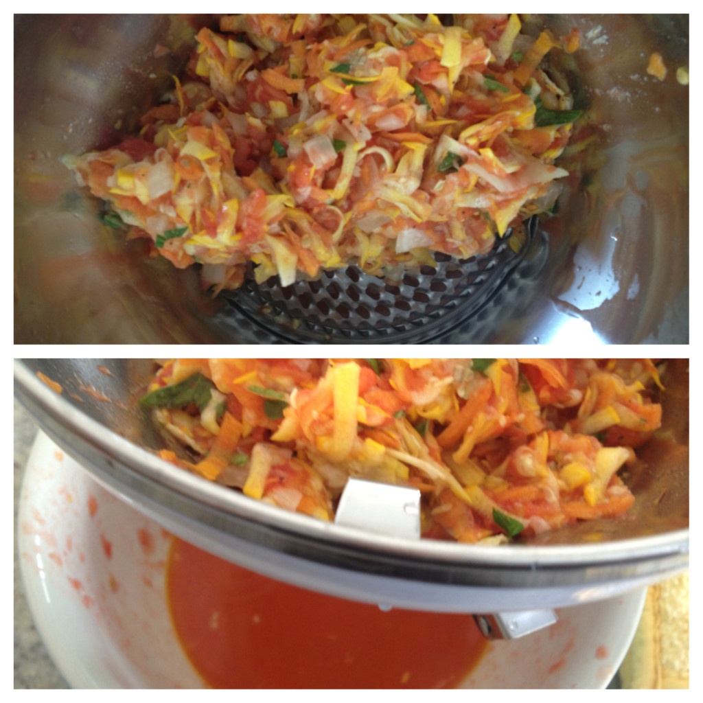 Using my OXO Food Mill to make pizza sauce