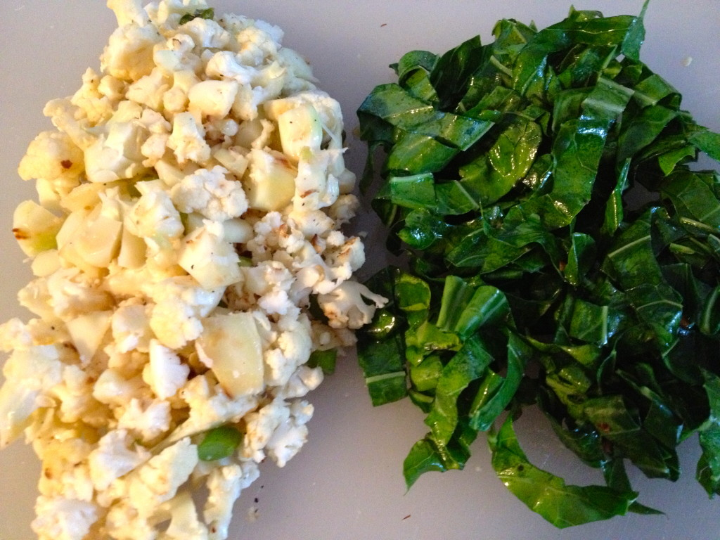 Sauteed cauliflower, scapes and collard greens ready to be added to my pizza