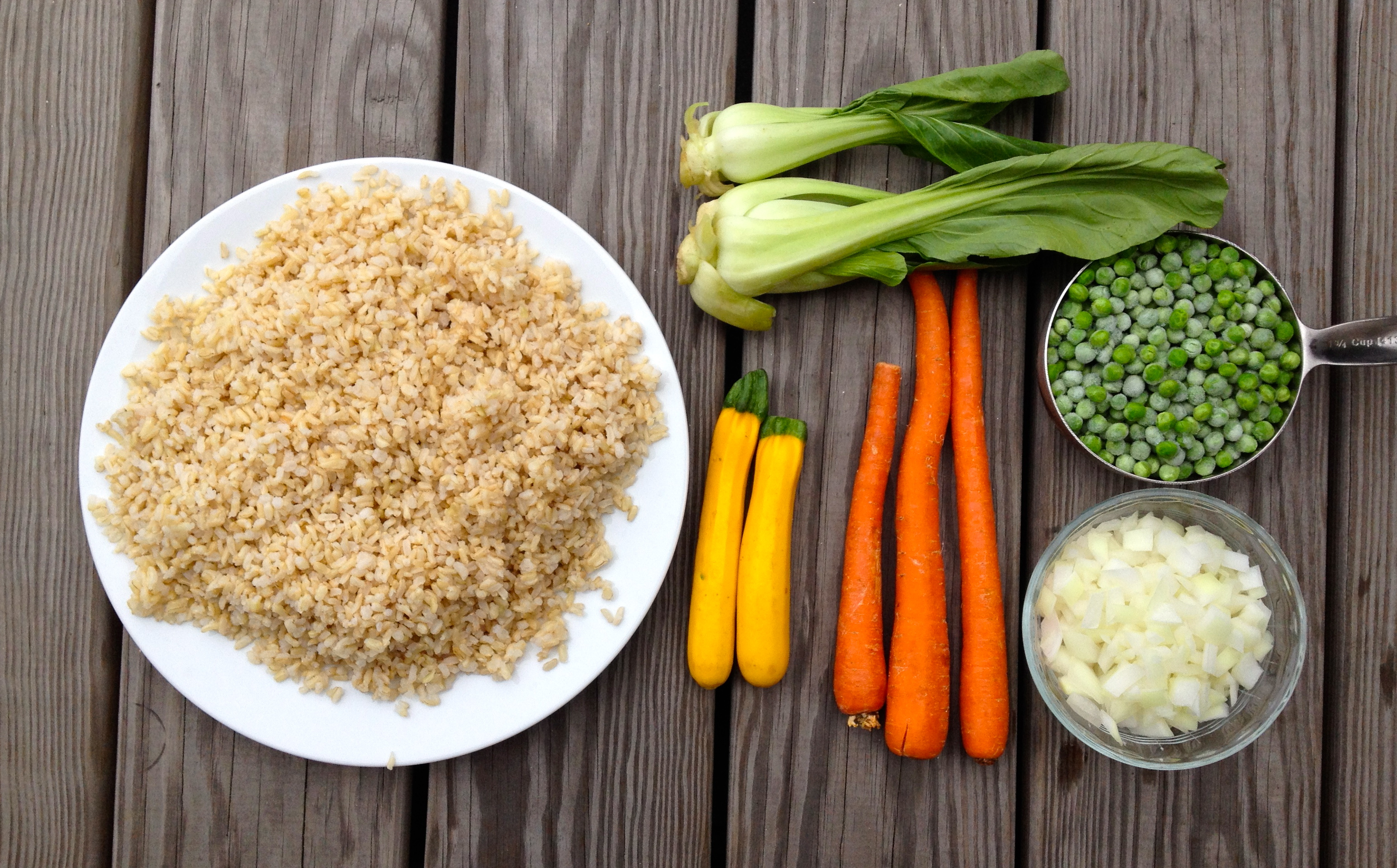 Most of the ingredients for Vegan Fried Rice