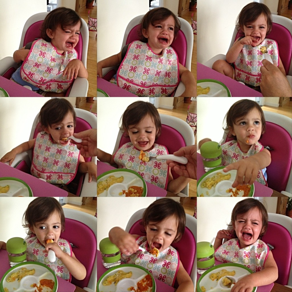 Toddler eating polenta in 9 frames