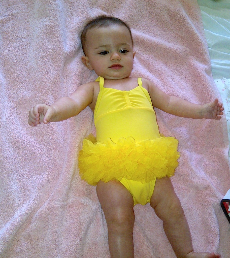 During her first Thanksgiving, Eliana wore her first bathing suit in sunny Florida