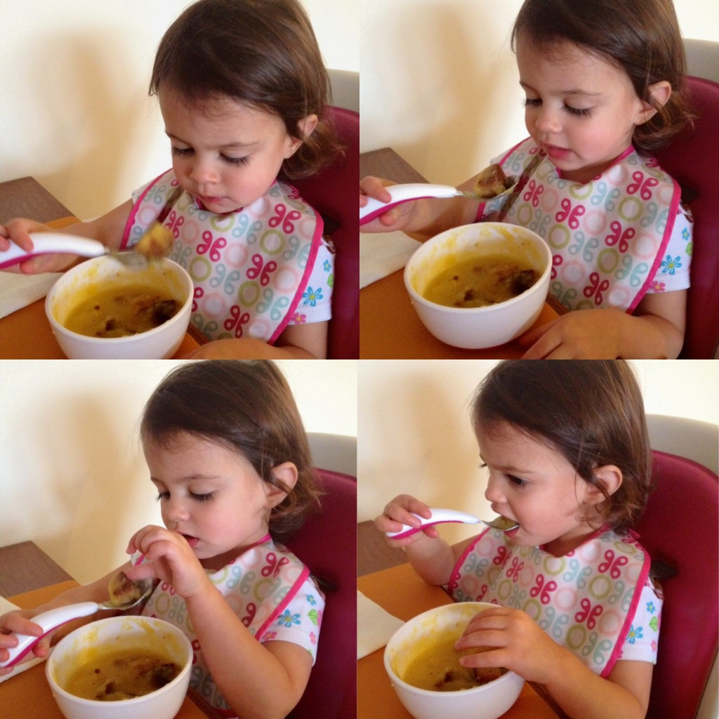 My toddler testing out her food