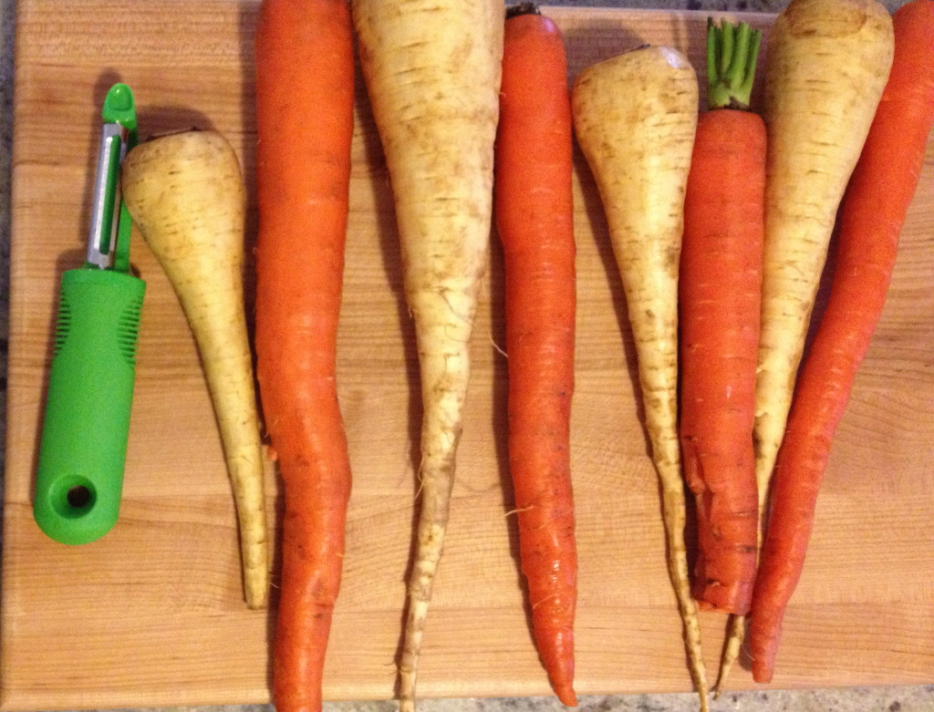 OXO peeler, parsnips and carrots