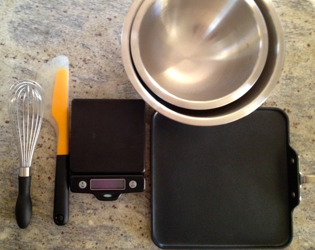 Some essential tools for making pancakes.
