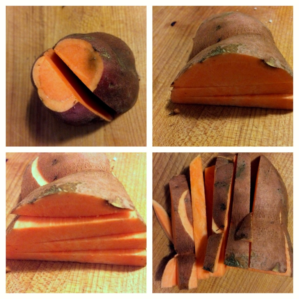 How to slice a yam into sticks.