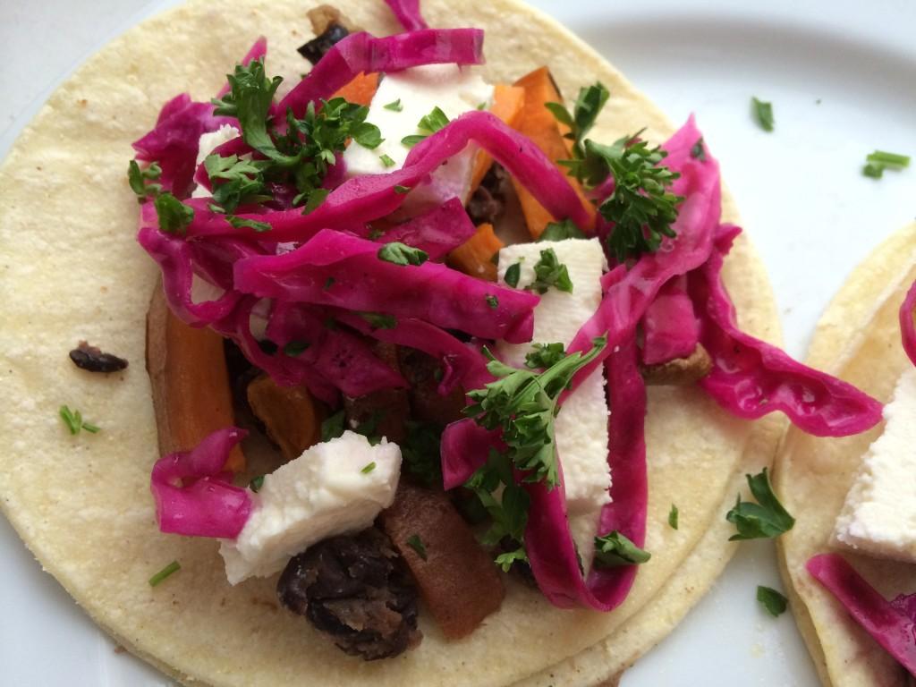 Vegetarian Yam and Black Bean Tacos