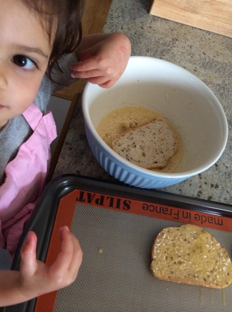 teeny tiny sous chef making Coconut French Toast from teeny tiny foodie