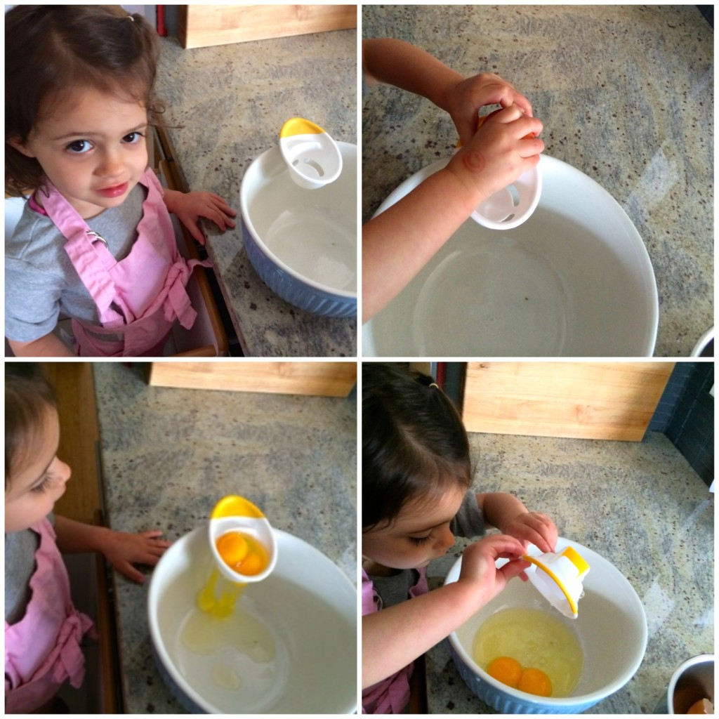 My teeny tiny sous chef cracking eggs for Coconut French Toast from teeny tiny foodie