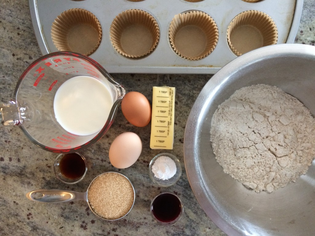 Ingredients for Pink Vanilla Cupcakes from teeny tiny foodie