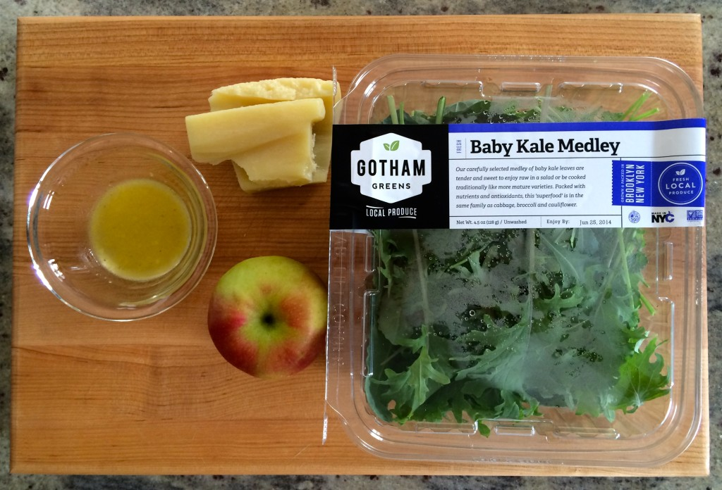 Ingredients for Shaved Apple & Baby Kale Salad from teeny tiny foodie