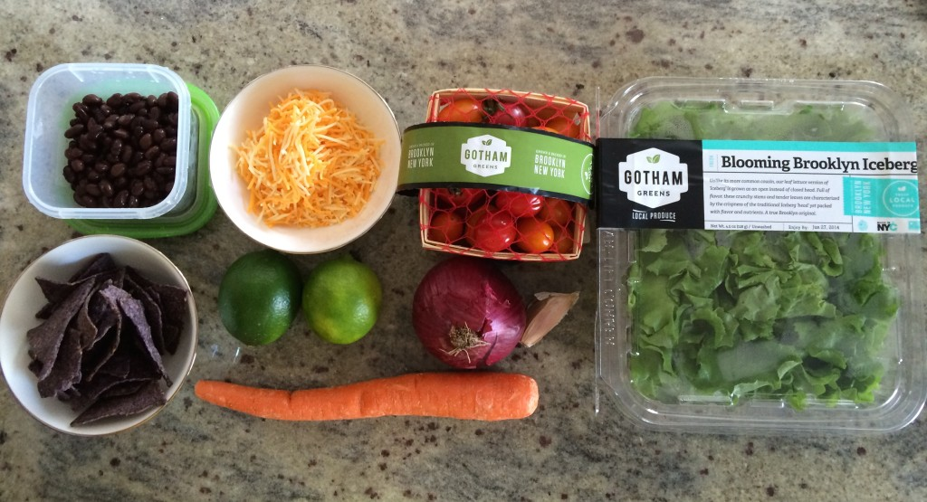 Ingredients for Crunchy Taco Salad with Salsa Salad Dressing from teeny tiny foodie