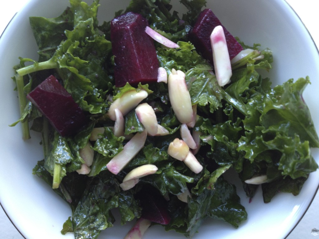 Massaged Kale Salad with Roasted Beets from teeny tiny foodie