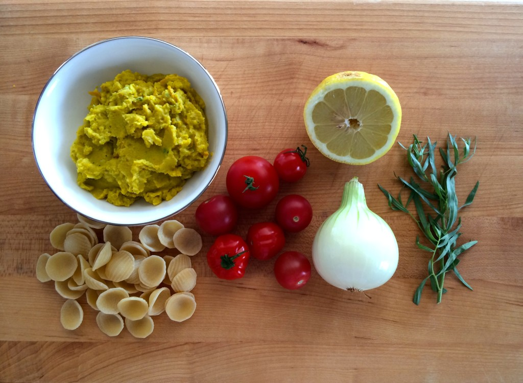 Ingredients for Yellow Squash and Tarragon Purée Pasta from teeny tiny foodie