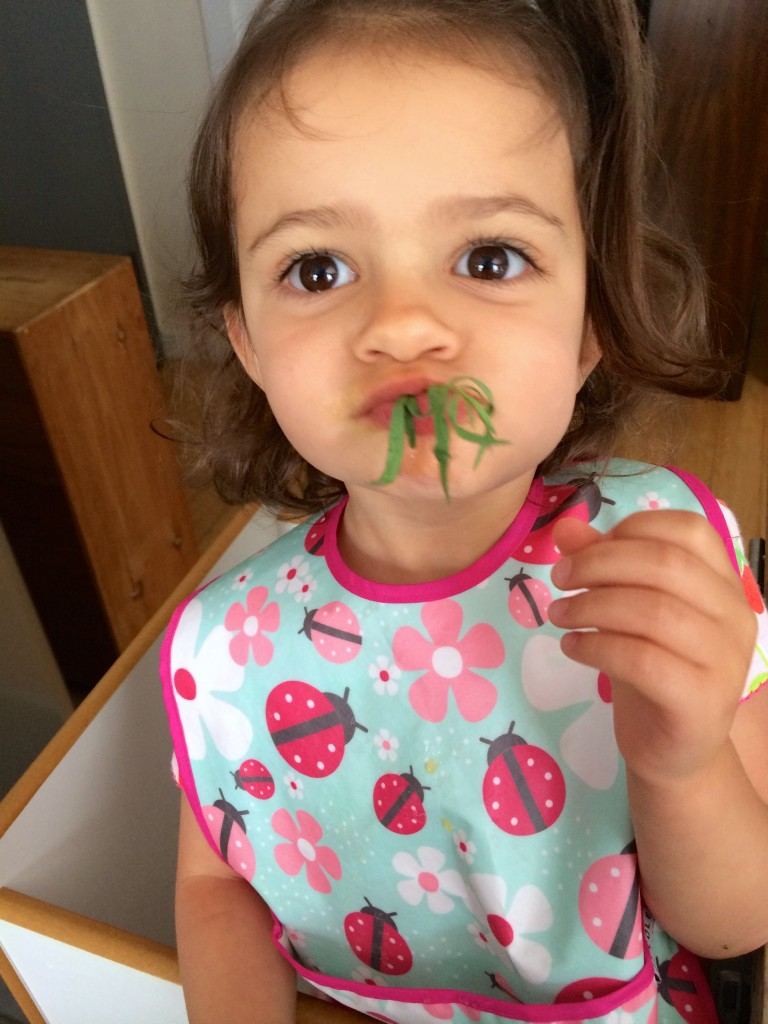 Kids are more likely to sample ingredients and try new foods just by being in the kitchen while you cook. My teeny tiny sous chef decided to stick a bunch of tarragon into her mouth while prepping it for Yellow Squash and Tarragon Purée Pasta from teeny tiny foodie