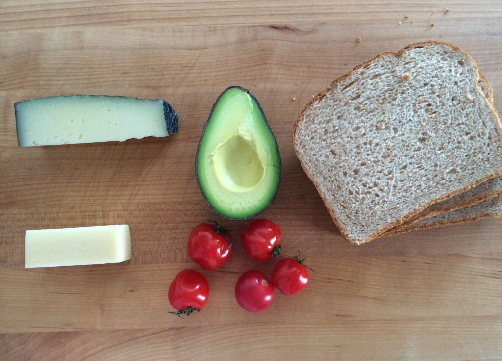 Ingredients for Avocado Tomato and Cheese Sandwich from teeny tiny foodie