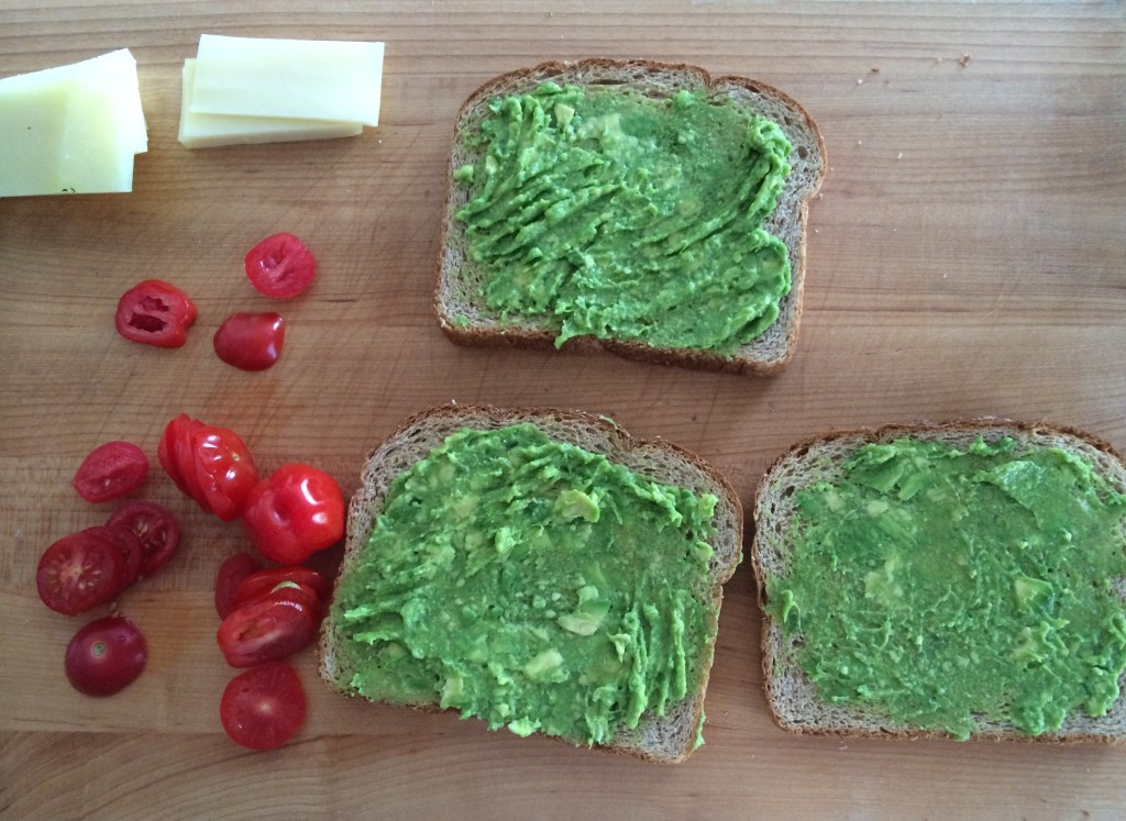Prep for Avocado Tomato and Cheese Sandwich from teeny tiny foodie