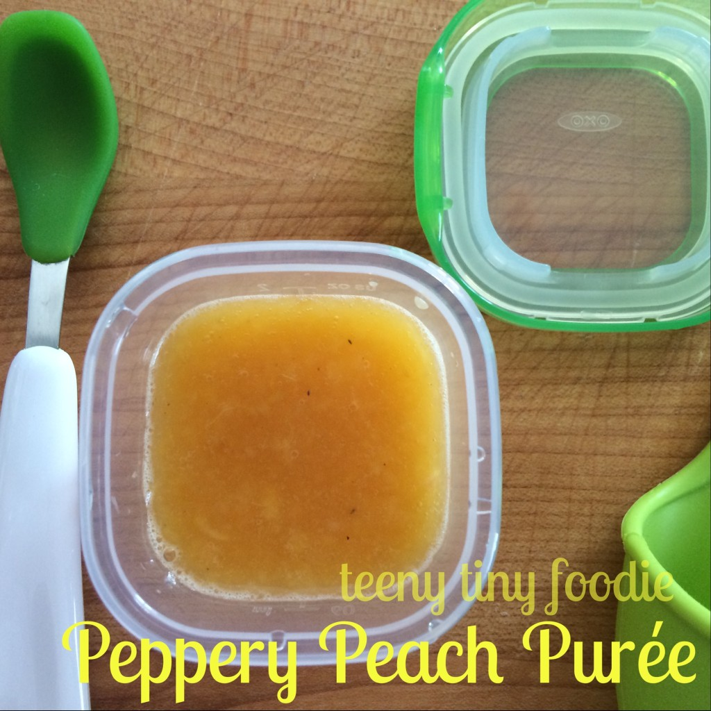 #FirstBites Peppery Peach Purée from teeny tiny foodie #FirstBites #firstfoods #babyfood #purees #healthybabies #oxotot