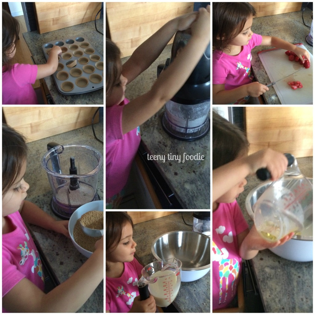 Eliana measured, chopped and mixed most of the batter for these Straight Up Strawberry Muffins from teeny tiny foodie