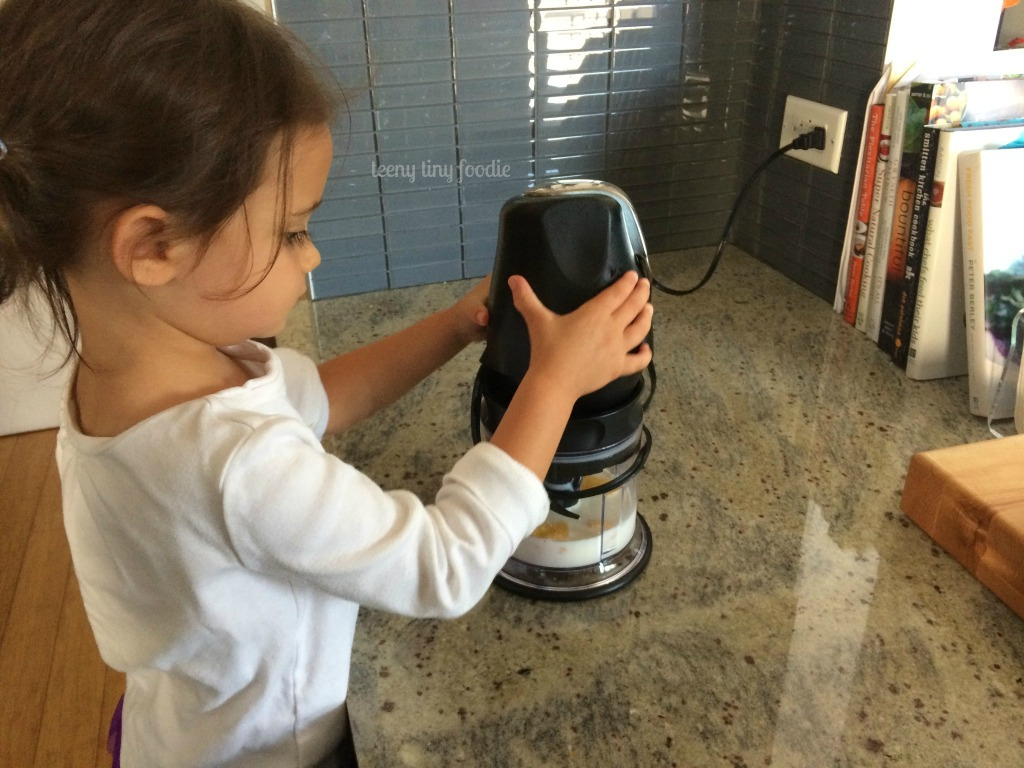 Using the food processor by herself from teeny tiny foodie