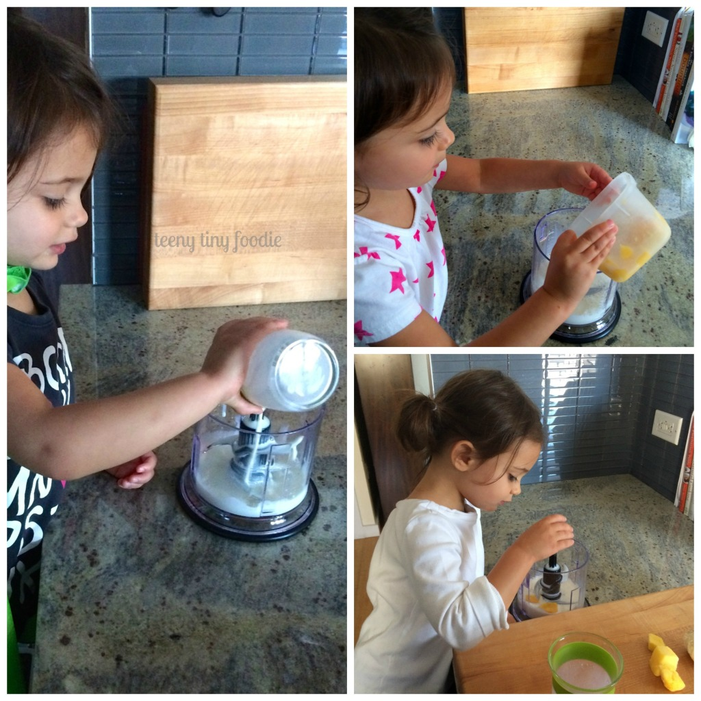 Eliana helping make milkshakes from teeny tiny foodie