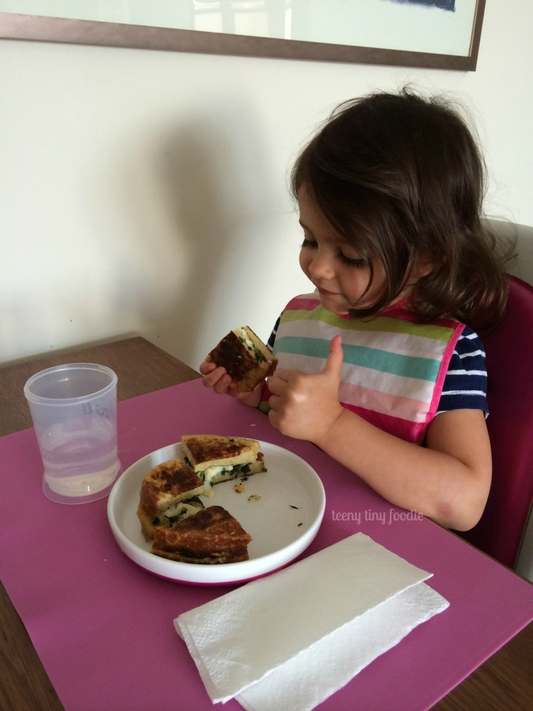 Thumbs Up! This Eggy Bread #Sandwich we made looks good!! #kidsinthekitchen #vegetarian