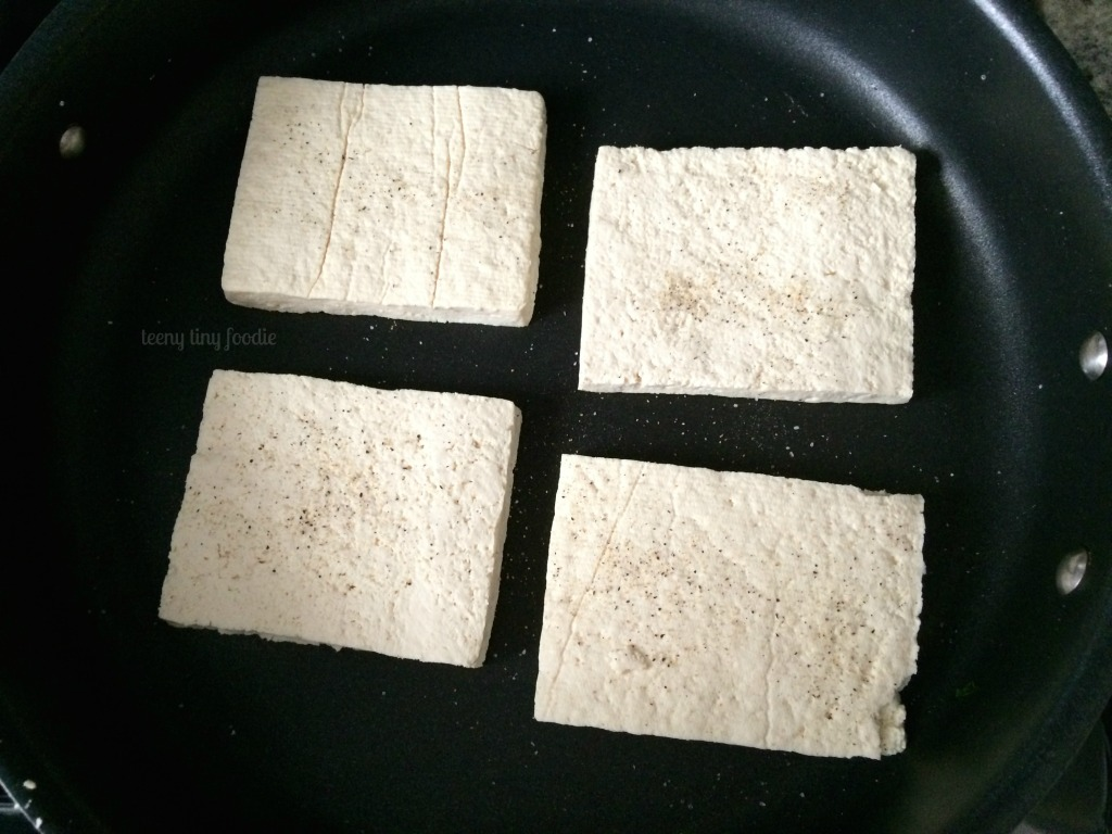 Searing tofu for Cracker Jack Quinoa from teeny tiny foodie