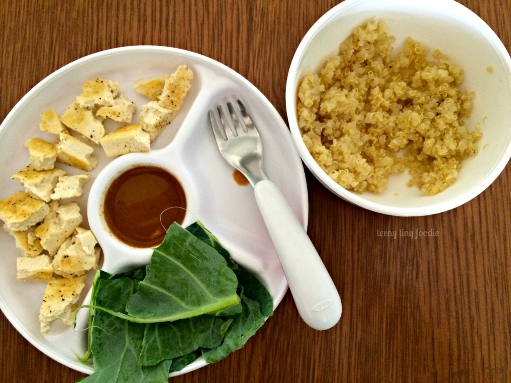 Deconstructed toddler plate of Cracker Jack Quinoa from teeny tiny foodie
