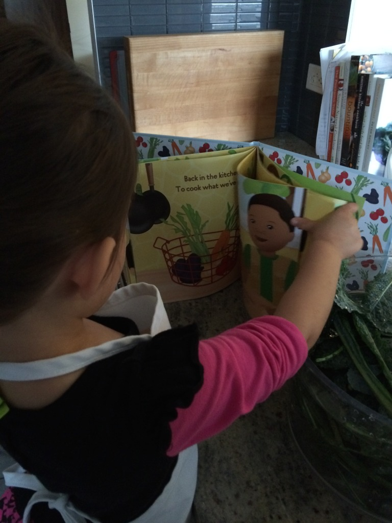 teeny tiny foodie reading Garden Safari Vegetable Soup by Kitchen Club Kids