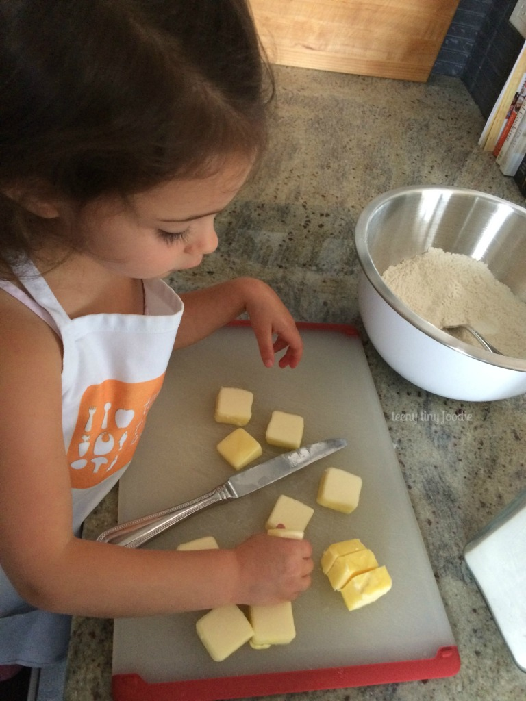 Playing with the butter before we cut it up and added it to #piecrust from teeny tiny foodie