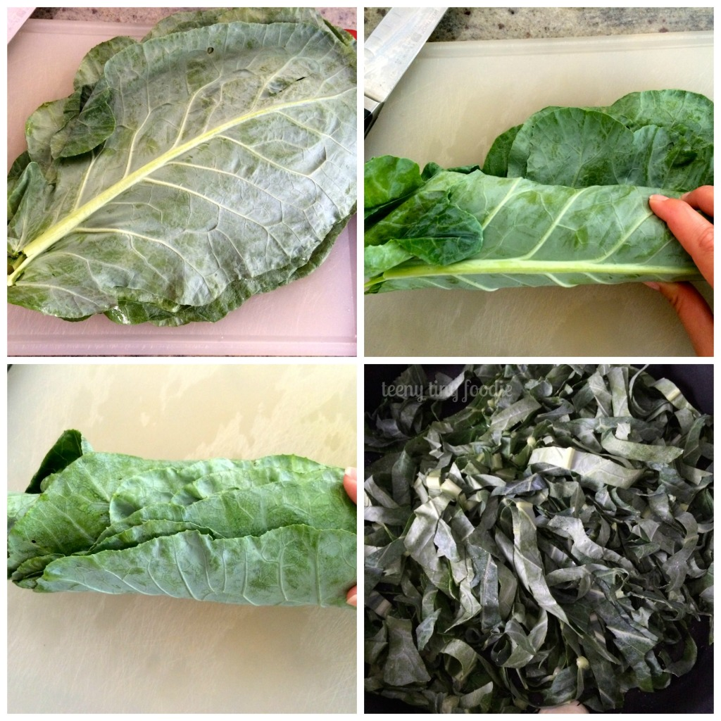 Prepping and cooking collard greens for Cracker Jack Quinoa from teeny tiny foodie