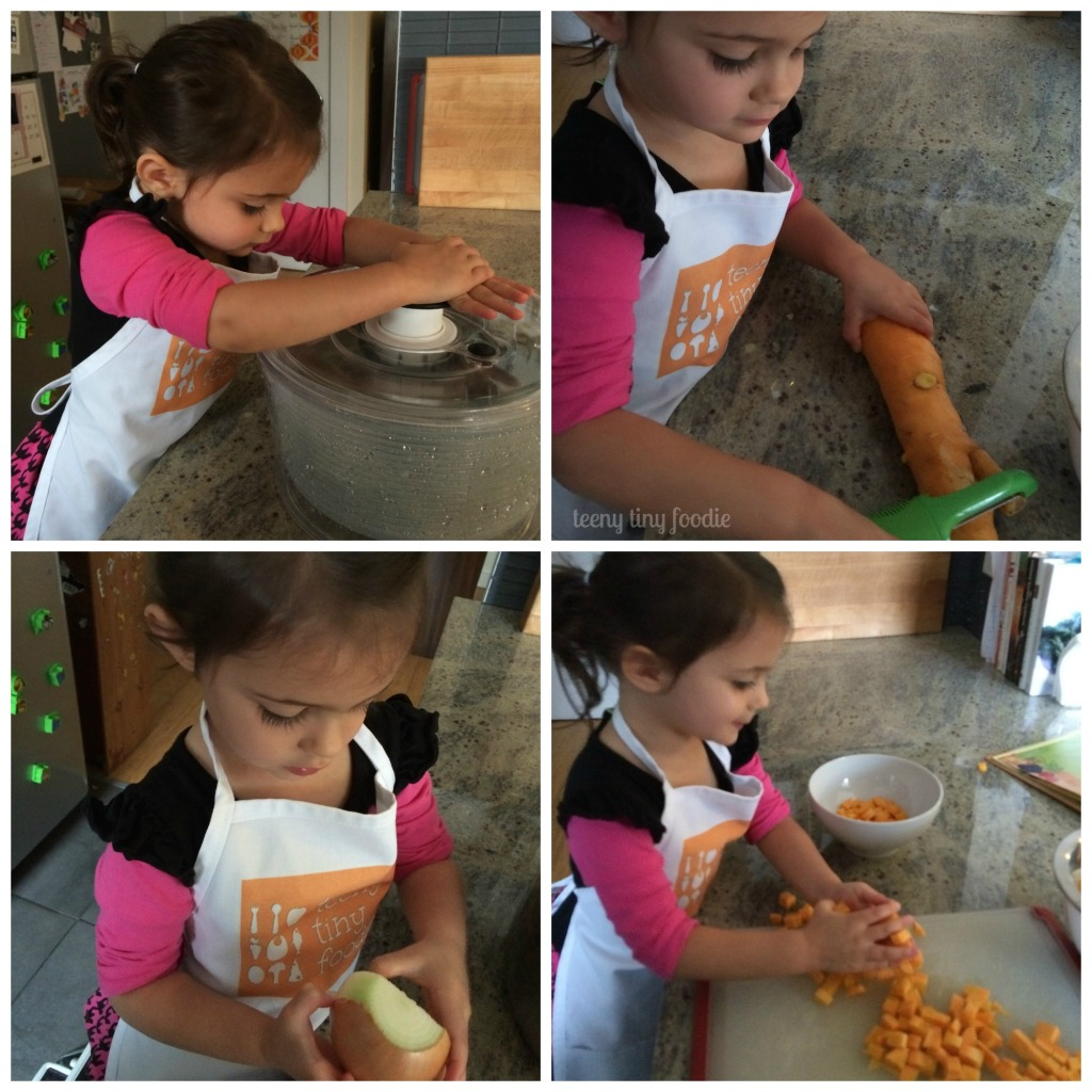 teeny tiny foodie making veggie soup inspired by Garden Safari Vegetable Soup by Kitchen Club Kids