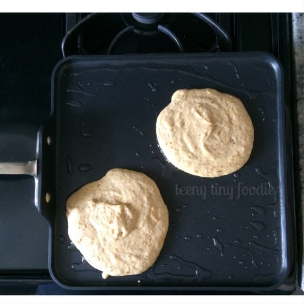 Spooky Pancakes in progress. Wait to see the bubbles before yo flip! from teeny tiny foodie