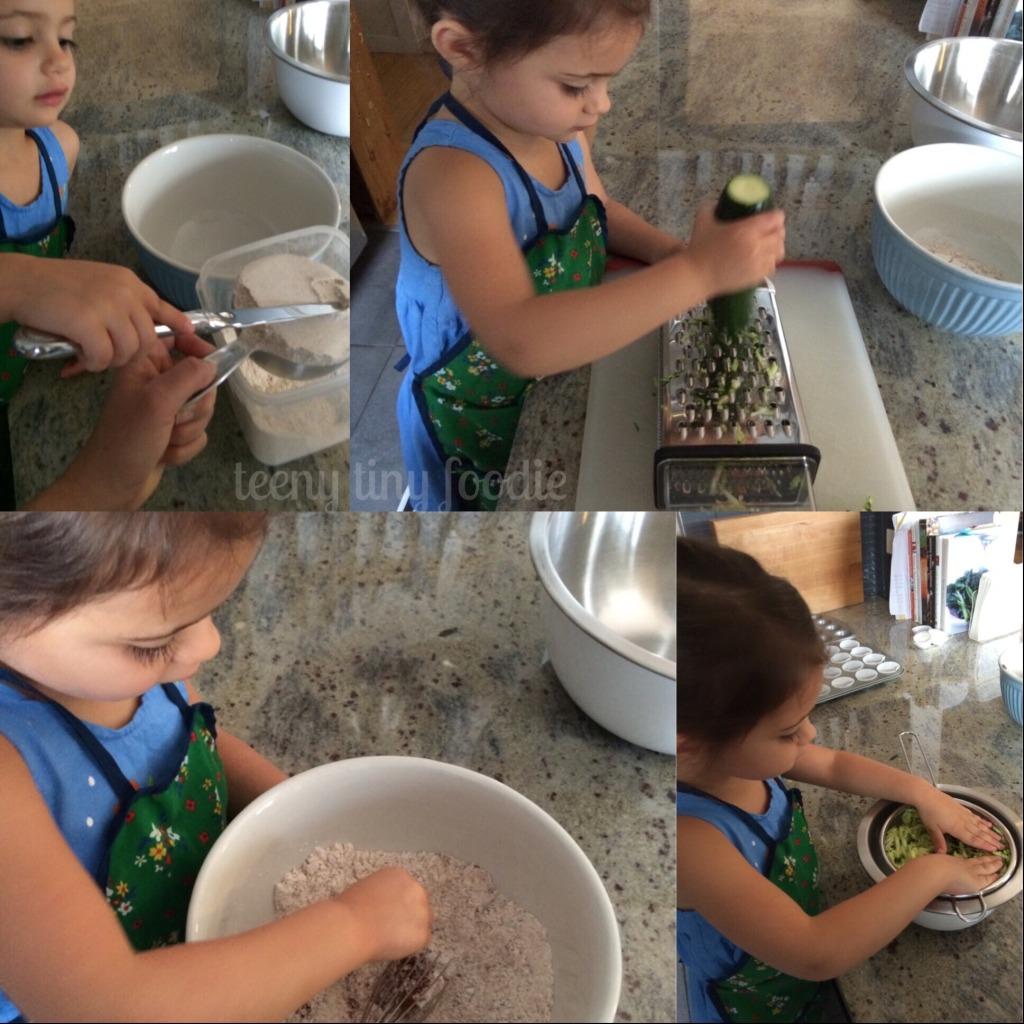 Let's make teeny zucchini muffins from teeny tiny foodie! #kidscook #kidsinthekitchen