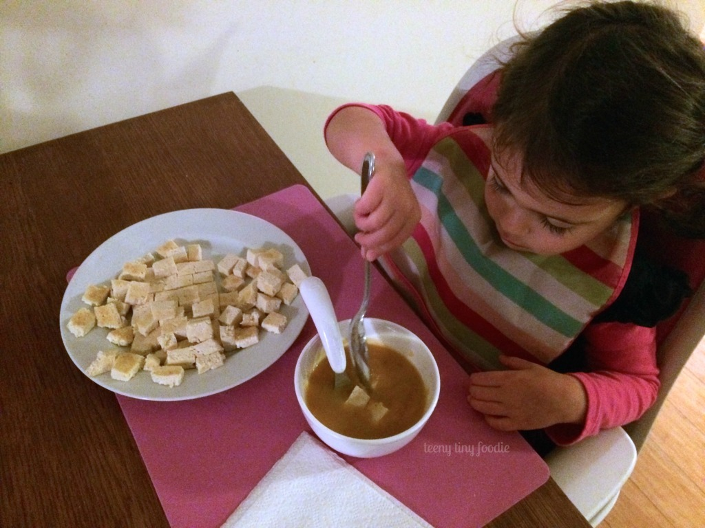 "Super Easy Squash #Soup from teeny tiny foodie is a delicious #vegan meal to keep you warm this winter. Add ""mix ins"" like seared tofu or croutons to get your toddler to eat it all up!"