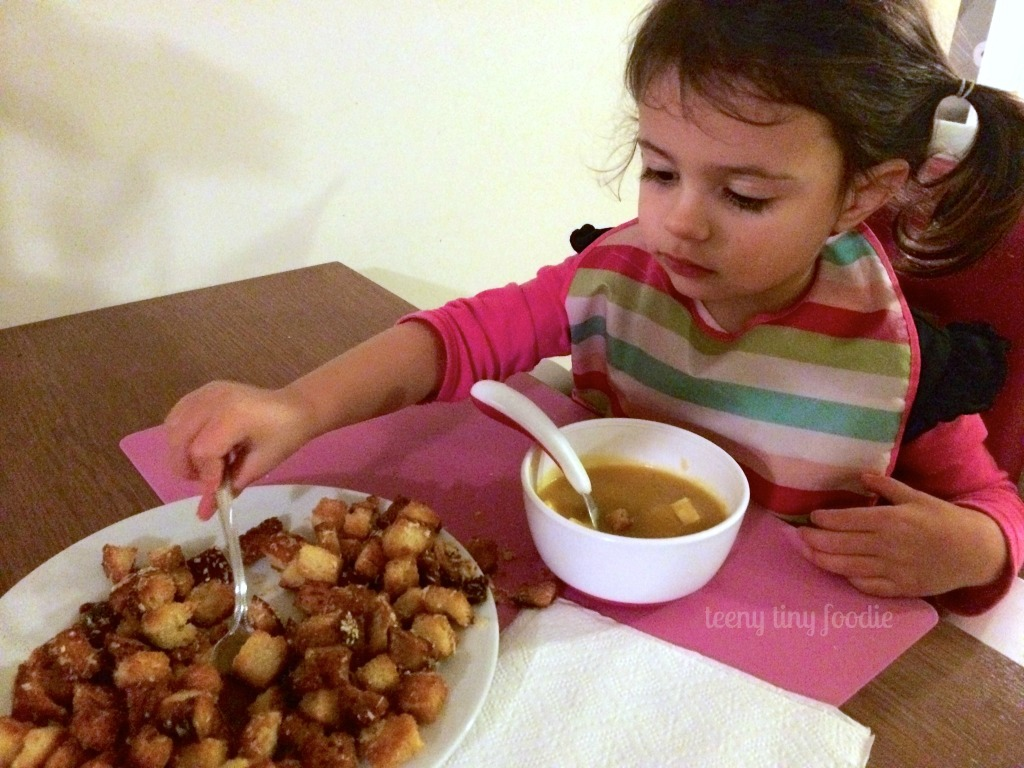 """Super Easy Squash #Soup from teeny tiny foodie is a delicious #vegan meal to keep you warm this winter. Add """"mix ins"""" like seared tofu or croutons to get your toddler to eat it all up!"""