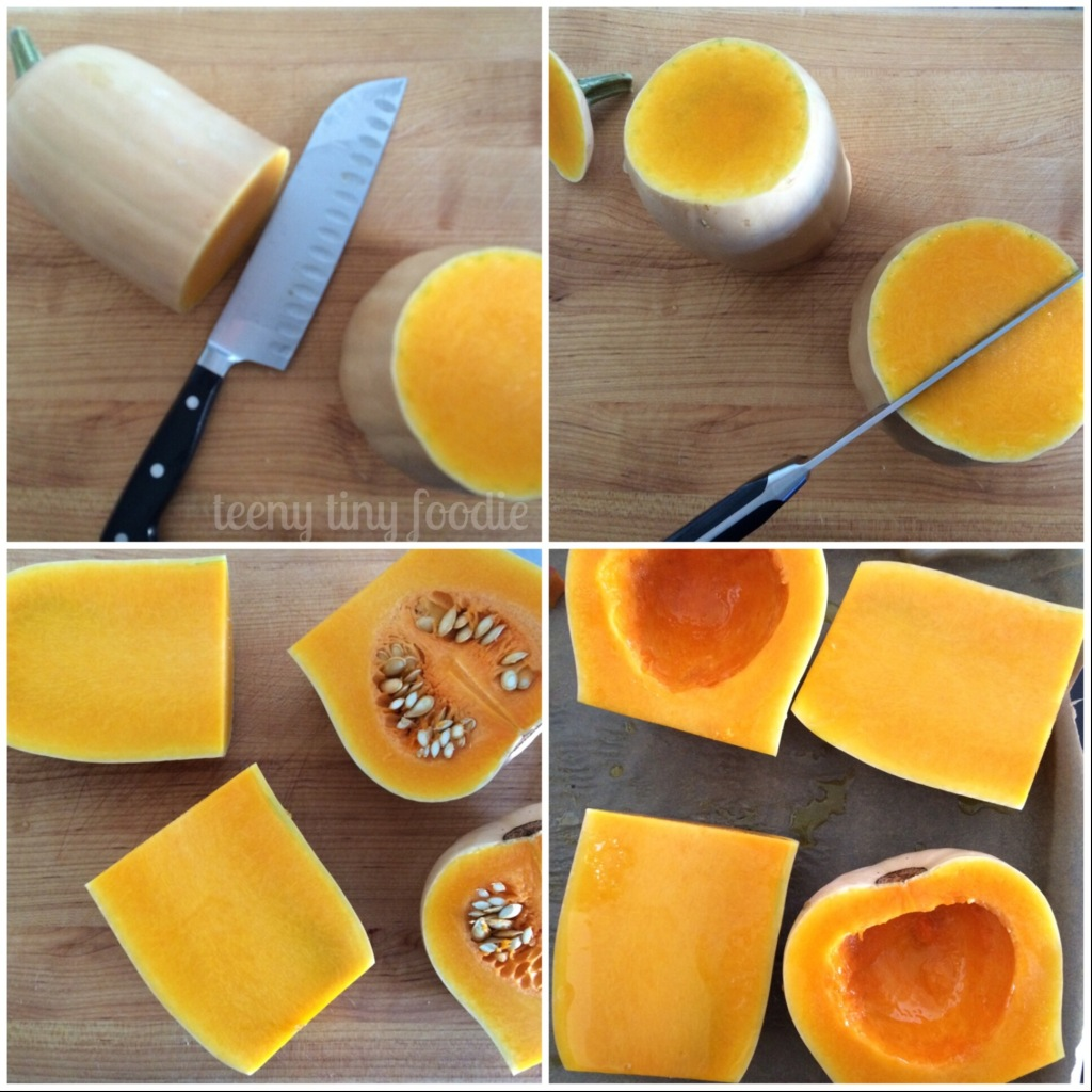 Steps for preparing a butternut squash to be roasted from teeny tiny foodie