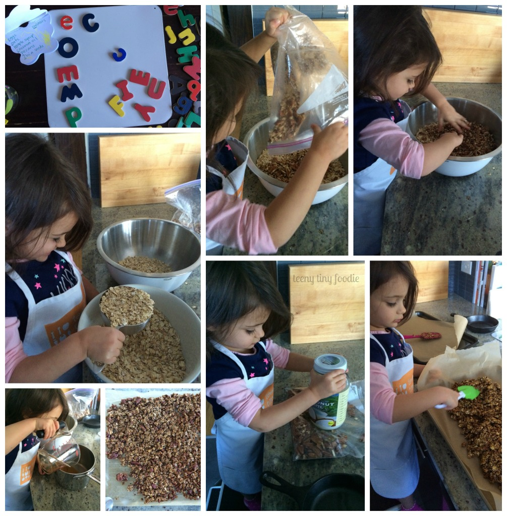 Pecan Pie #Granola from teeny tiny foodie is a scrumptious treat to enjoy yourself or to share as a #holiday #gift. #kidsinthekitchen #KidsCookMonday #toddlerscancook