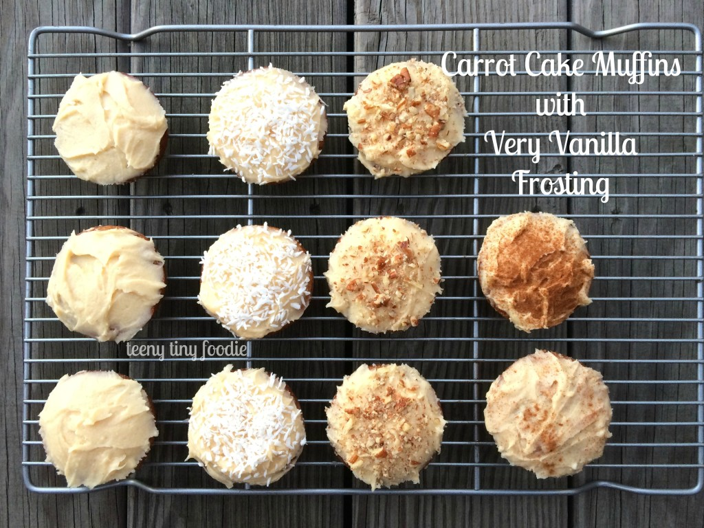 Carrot Cake Muffins with Very Vanilla Frosting by teeny tiny foodie are a #delicious #treat you can make with your kids. #kidsinthekitchen #toddlerscancook #KidsCookMonday