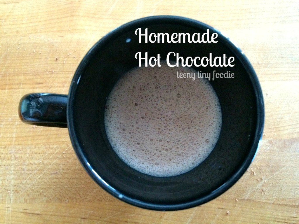 Homemade Hot Chocolate from teeny tiny foodie will keep you warm and cozy this winter! #hotchocolate #kidsinthekitchen #toddlerscancook